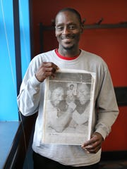 C.J. Jordan, 56 of Indianapolis, holds a photo from 1976 with himself and his brother Charles Jordan who was a rookie with the Indiana Pacers that year. Jordan will play for the USA 55+ team in the FIMBA (Federation of International Masters Basketball Association) World Championships in Orlando, FL next year at the ESPN complex.
