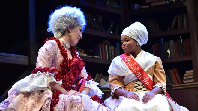 """Starring in the Binghamton University production of """"The Revolutionists"""" are, from left, Amelia Pena (Marie Antoinette) and Brianna Simpkins (Marianne Angelle)."""