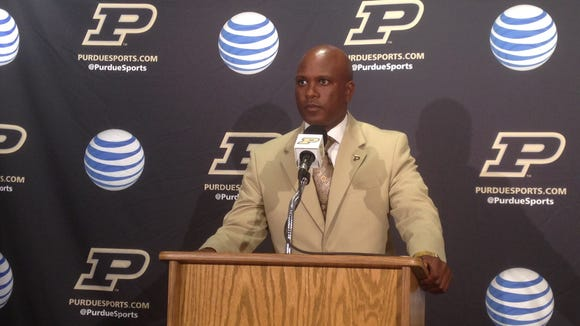 Purdue football coach Darrell Hazell at Tuesday's press conference. The Boilermakers host Western Michigan on Saturday