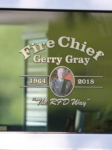 The procession for Fire Chief Gerry Gray on Thursday