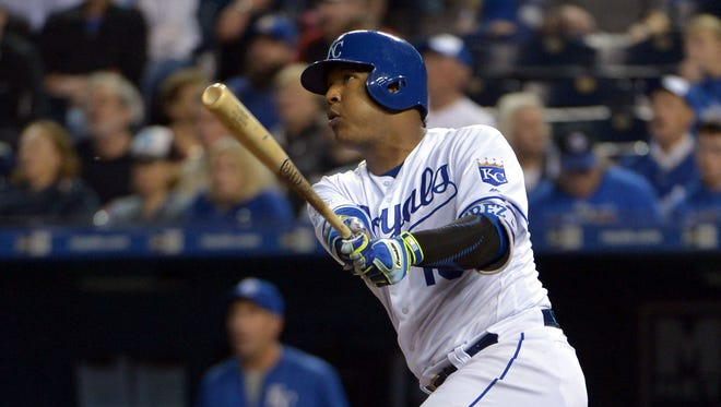 Royals catcher Salvador Perez connects for a three-run home run in the fifth inning at Kauffman Stadium.