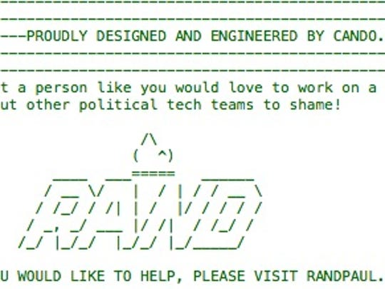 A screenshot of the source code for Rand Paul's  website.