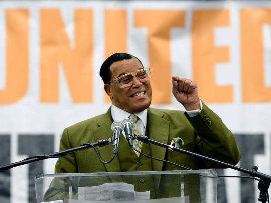 Minister Louis Farrakhan speaks at Tennessee State University on Saturday, April 16, 2016, in Nashville, Tenn. Farrakhan discussed the importance of business curriculum in colleges during his keynote address.