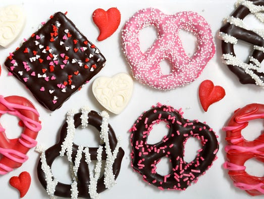 Valentine's Day themed chocolate covered pretzels and