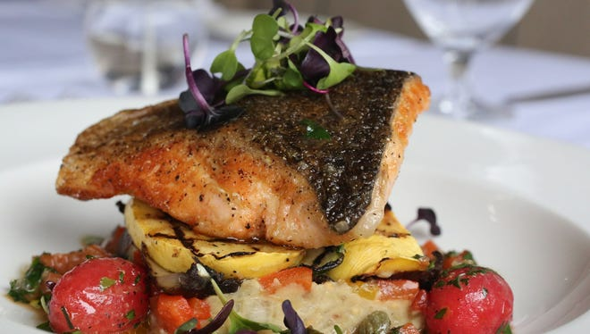 Pan-seared salmon with confit tomatoes, grilled vegetables and brown butter caper sauce at Winston in Mount Kisco for Hudson Valley Restaurant Week.