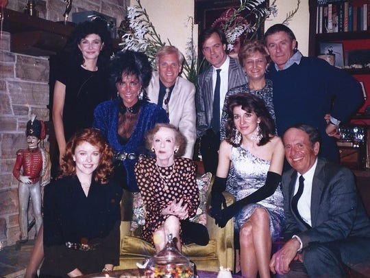 Bette Davis, Kathryn to her right, celebrating 87th