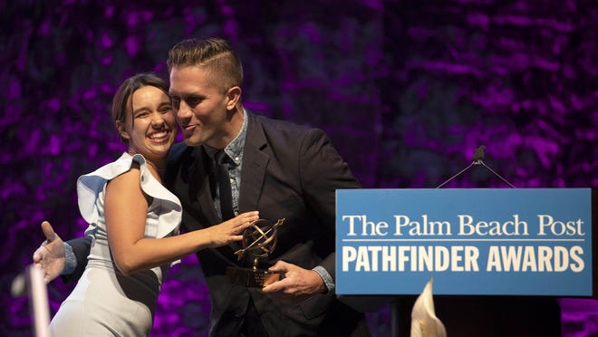 Olivia Payson (left), from Dreyfoos School of the Arts, won the $4000 Drama scholarship at the 36th annual Palm Beach Post Pathfinder Scholarship Awards at the Raymond F. Kravis Center for the Performing Arts in West Palm Beach, May 14, 2019. The Pathfinder Awards are presented each year to high school seniors in Palm Beach and Martin counties who have demonstrated outstanding achievement in 18 academic, vocational and athletic categories. These seniors are nominated by their schools, they do not self-apply.