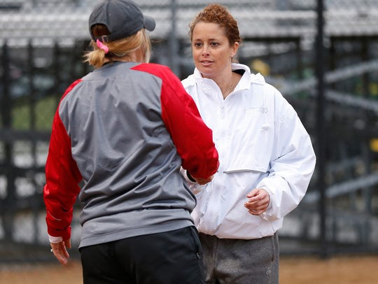 Tanya Koeppen, right, is in her third season coaching Lafayette Jeff's softball program.
