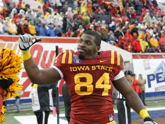Iowa State Cyclones tight end Ernst Brun Jr. (84) celebrates
