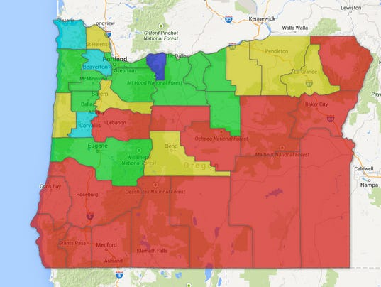 Map Oregon Counties See Slight Rise In Unemployment - Oregon county maps