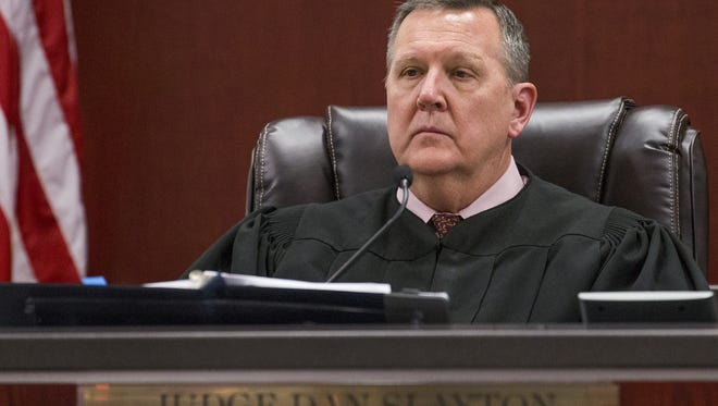 Judge Dan Slayton listens to opening arguments in the trial of Steven Jones, the former Northern Arizona University student accused of killing one student and injuring three others during an incident in Flagstaff in 2015.  Opening arguments took place in Coconino County Superior Court, Wednesday, April 5, 2017.