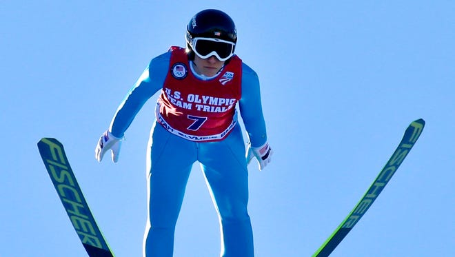 Jessica Jerome of the U.S. is airborne during her ski jump at the U.S. Olympic Trials at the Utah's Olympic Park. Jerome had the best jump of the day to earn a spot on the inaugural U.S. women's team.
