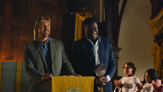 "Reverend Dave (David A.R. White) and Reverend Jude (Benjamin Onyago) rally the congregation in ""God's Not Dead: A Light in Darkness."""
