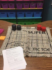 Kelsey Sheffield's fourth-grade class has a tic-tac-toe math station at Belaire Elementary.