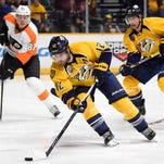 Predators forward Mike Fisher was the fifth player to start at first-line left wing in the 12 games since center Ryan Johansen joined the team.