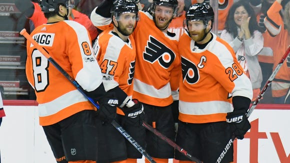 The Flyers' top line exploded for a combined 10 points among the three forwards.