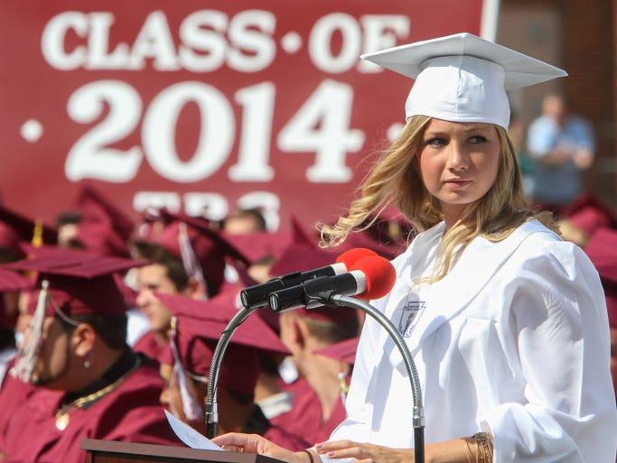 Toms River,  NJ      Toms River High School South class of 2014 graduation ceremony. Class secretary Madison Kenny speaks.  062514  Tom Spader/Asbury Park Press