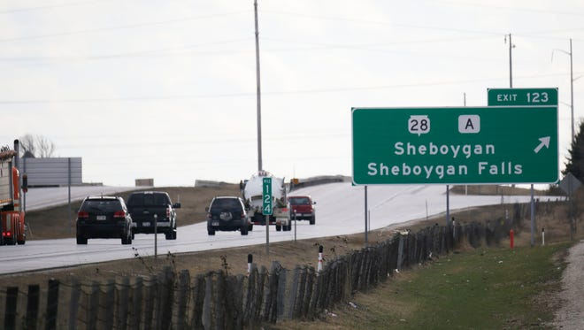 Vehicles travel southbound on Interstate 43 March 16, 2016, in Sheboygan. Road construction at the State Highway 28 exit ramps may impact travel to Sheboygan.