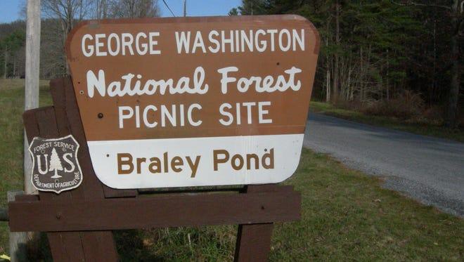Sign near Braley Pond