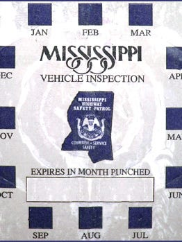 MS Vehicle Inspection Sticker