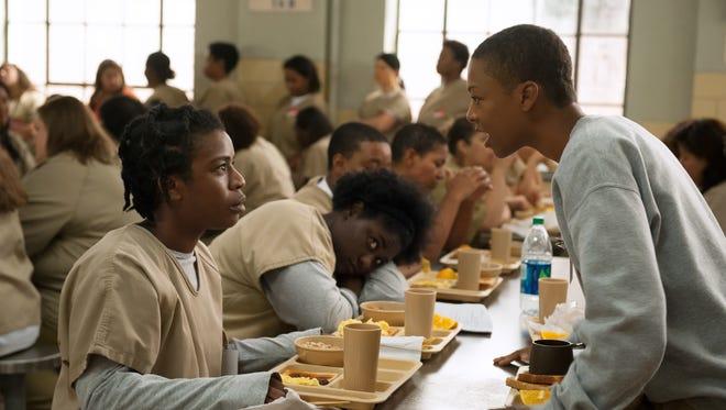 "Uzo Aduba and Samira Wiley in season 3 of the Netflix original series ""Orange is the New Black""."