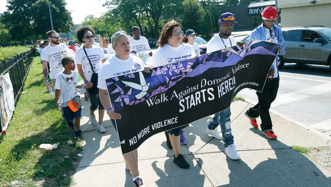 Domestic Violence Walk that started at Maplewood Rose Garden.