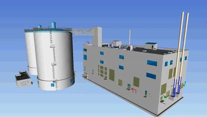 This rendering shows the planned new solid-waste operation, with two anaerobic digestion tanks on the left and a new incinerator building on the right.