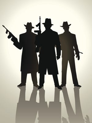 Silhouette illustration of gangsters