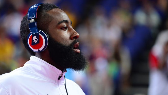 2012: James Harden looks on before the men's quarterfinal between Brazil and Argentina in the 2012 London Olympic Games.