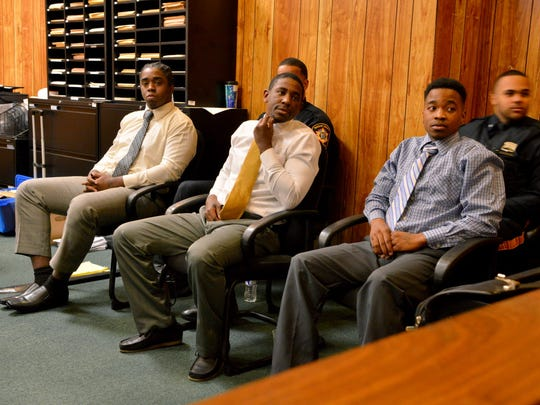 Jhymiere Moore, Jeffrey Ellerbee and Marshae Anthony, appearing in court on Monday, November 7, 2016.