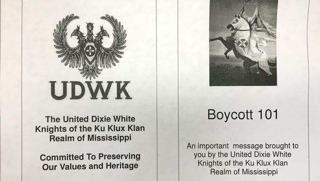 This is a portion of a KKK flier that was distributed to homes on the Mississippi Gulf Coast.