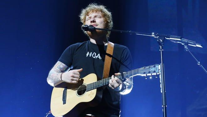 Ed Sheeran  performs on his ÷ Tour Saturday, Aug. 5, 2017, in Glendale,  Ariz.
