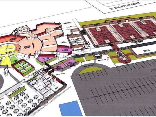 Preliminary designs for the St. Joseph community center show spaces for a gym, multipurpose rooms and library services.