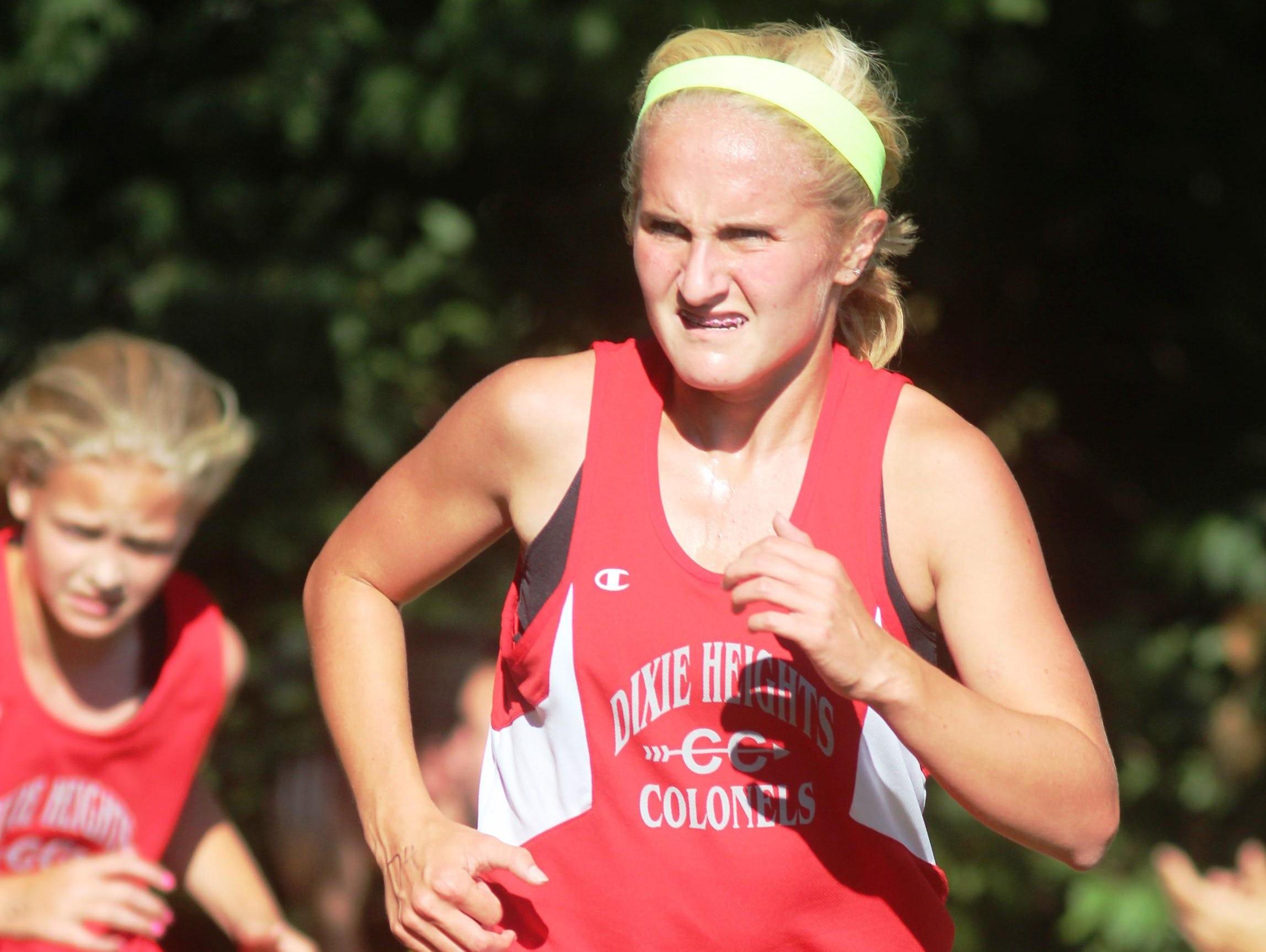 Dixie Heights freshman Nicole Marker, front, with teammate Lexi Plitzuweit.