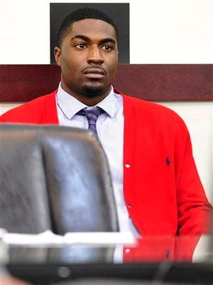 Former Vanderbilt football player Cory Batey listens during the second day of his trial Tuesday in Nashville. Batey and Brandon Vandenberg are being tried on five counts of aggravated rape and two counts of aggravated sexual battery. Batey and Vandenberg are accused along with two of their former teammates of raping an unconscious student in a dorm at the Nashville university in June 2013. All have pleaded not guilty.