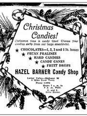Barner's Candy 1947 Christmas advertisement.
