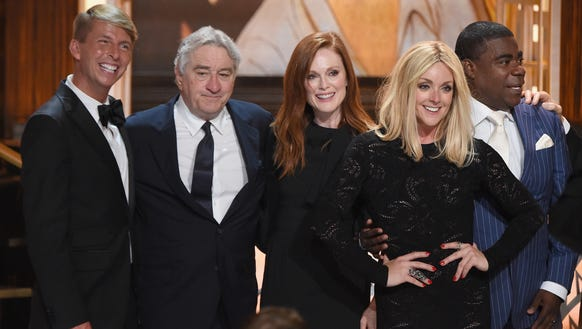 Jack McBrayer, left, Robert De Niro, Julianne Moore,