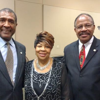 Former State Treasurer Jim Hill, left, Pastor Marilyn