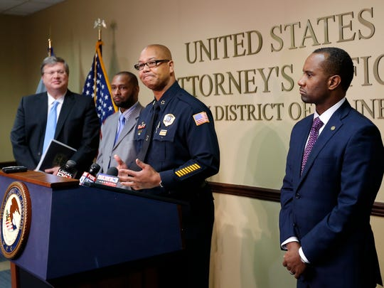 The Department of Justice announced in October a review of the Memphis Police Department requested by Memphis Mayor Jim Strickland (left) and Police Director Michael Rallings (second from right).  Also at the press conference were Noble Wray, the leader of the DOJ's  Community Oriented Policing Services initiative, and U.S. Attorney Edward L. Stanton III (right).
