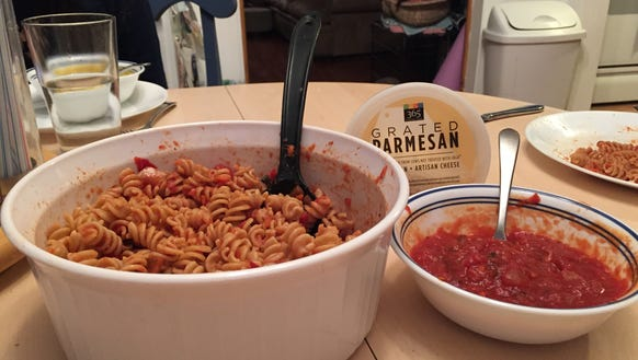 Dinner time! Whole wheat pasta with Christina's From