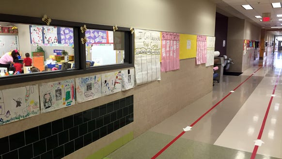 Students work and bright decorateions line the Ysleta