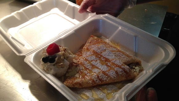 The Parisien crepe, which is filled with goat cheese,
