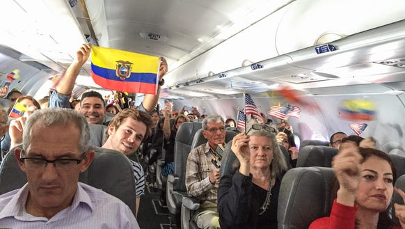 Passengers on JetBlue's inauguaral flight from Fort