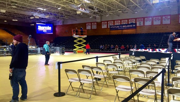 Preparations for the 7 p.m. rally are underway. There's