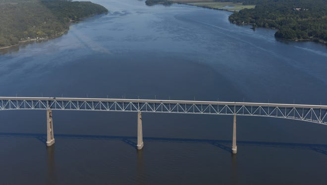 The Hudson River looking north from the Kingston-Rhinecliff bridge as seen in this aerial view in September. Some municipalities in the area rely on the Hudson River Estuary for drinking water.