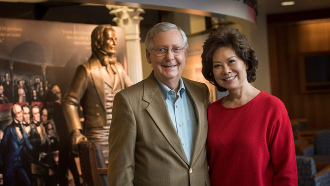 Senate Majority Leader Mitch McConnell and Elaine Chao at the University of Louisville McConnell-Chao Archives in May 2016.