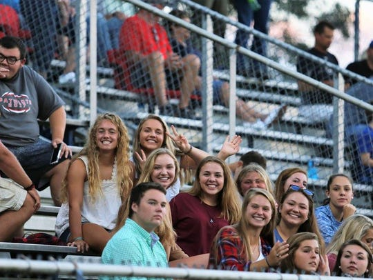 Students made the 40-mile trip to back the Patriots.