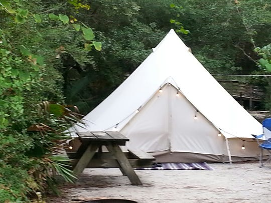 Two bell tents are available for rent from Glamping Hub at both Grayton Beach State Park and Topsail Hill State Preserve. Twin Lakes Camp Resort has just completed the installation of seven luxury glamping tents.