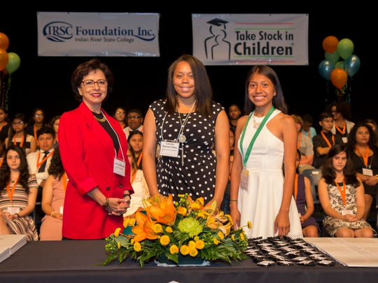 Speakers at the 2017 included, left to right, Laticia Wood, Indian River County mentor; Leonie Barron Poku, IRSC Bachelor's Degree graduate; Ofelia Juan, 2017 South Fort High School senior