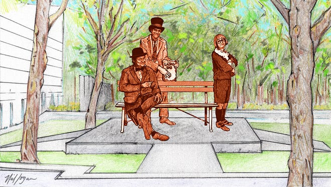 """A new foundation honoring """"The Wallace and Ladmo Show"""" plans to raise money to place a statue outside the Herberger Theater Center in downtown Phoenix. The statute will feature the three main characters:  Wallace (seated) with Ladmo behind him and Gerald at the end of the bench."""
